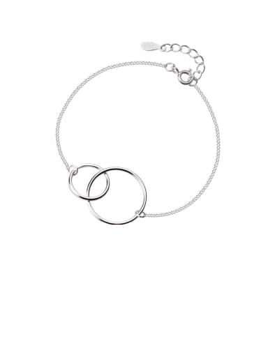 925 Sterling Silver Minimalist Hollow Geometric  Link Bracelet