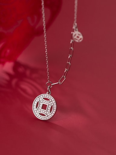 silver 925 Sterling Silver Cubic Zirconia Coin Ethnic Necklace