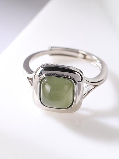 Blue jade 925 Sterling Silver Jade Geometric Vintage Band Ring