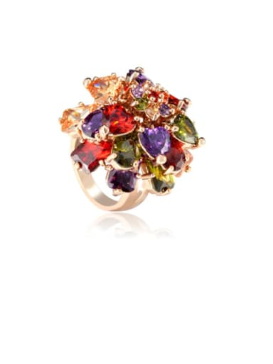 Copper Cubic Zirconia Multi Color Flower Luxury Band Ring