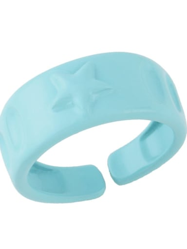 Light blue Brass Enamel Star Hip Hop Band Ring