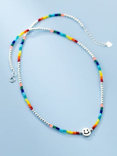 925 Sterling Silver Bead Geometric Minimalist Beaded Necklace