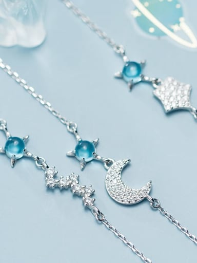 925 Sterling Silver  Cute Simple Synthetic Glass Star Moon  Link Bracelet