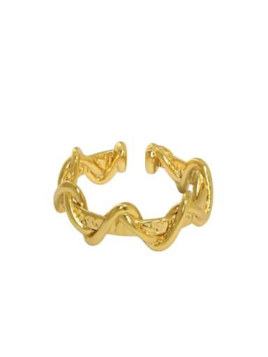 Gold [12 Adjustable] 925 Sterling Silver Irregular Vintage Band Ring