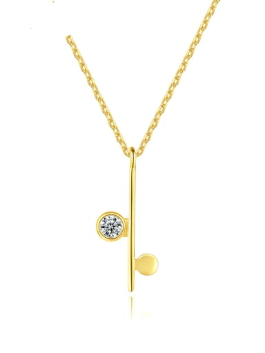 925 Sterling Silver Rhinestone Geometric Minimalist Necklace