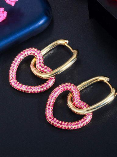 Golden red Brass Cubic Zirconia Heart Luxury Cluster Earring