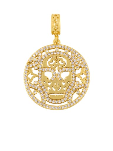 Skull Pendant Brass Cubic Zirconia Letter Ethnic Necklace