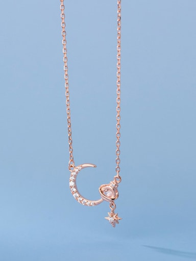 rose gold 925 Sterling Silver Cubic Zirconia Moon Minimalist Necklace