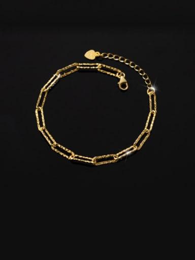clasp Bracelet Gold 925 Sterling Silver Geometric Minimalist Link Bracelet