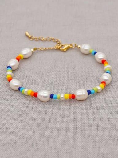 ZZ B200050B Freshwater Pearl Multi Color Round Bohemia Stretch Bracelet