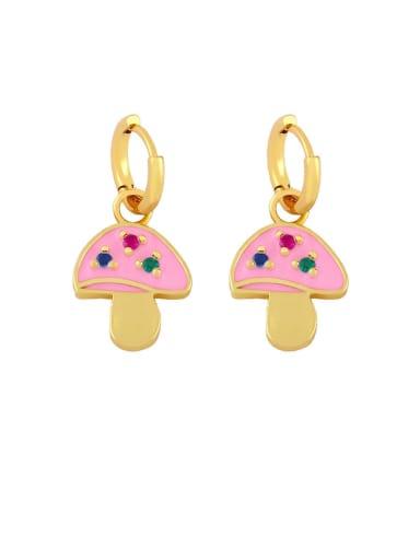Pink Brass Enamel Mushroom Bohemia Stud Earring