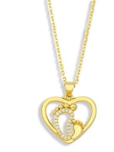 Brass Cubic Zirconia Heart Minimalist Letter Pendant Necklace
