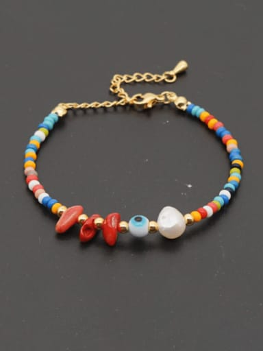 Stainless steel Freshwater Pearl Irregular Bohemia Beaded Bracelet