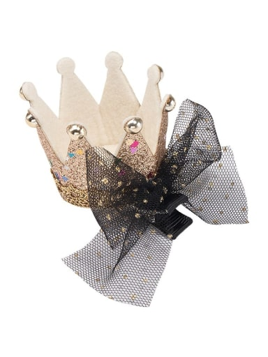 3 gold crown black mesh bow hairpin Alloy  Leather Cute CrownMulti Color Hair Barrette