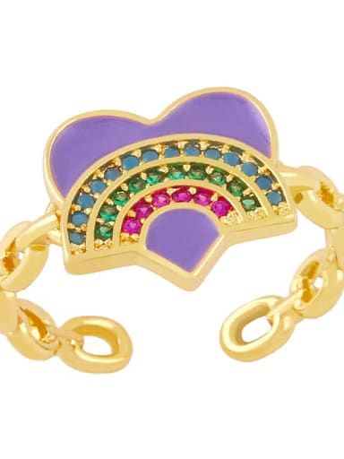 purple Brass Enamel Rainbow Vintage Band Ring