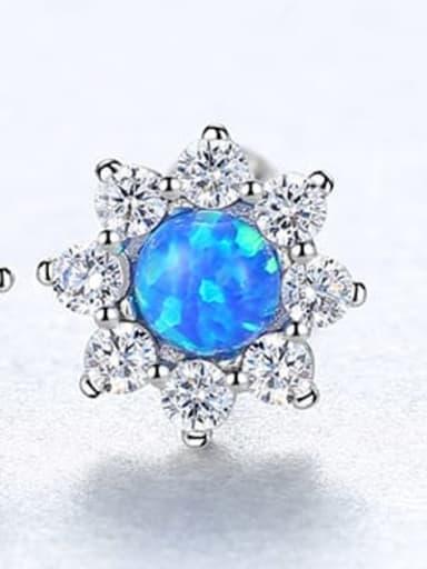 Blue 18E03 925 Sterling Silver Opal Flower Classic Stud Earring