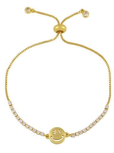 C Brass Cubic Zirconia Letter Minimalist Adjustable Bracelet