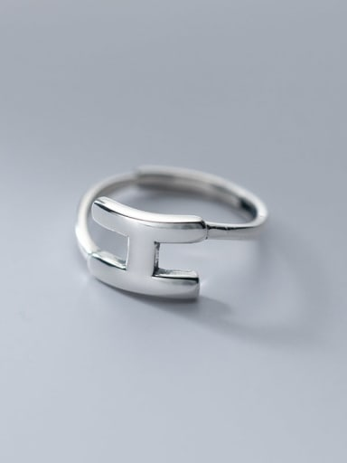 925 Sterling Silver Letter Minimalist Band Ring