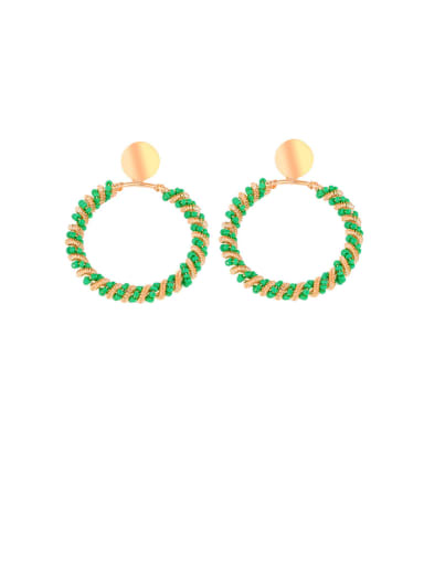 Green circle Alloy Hollow Geometric Bohemia Drop Earring