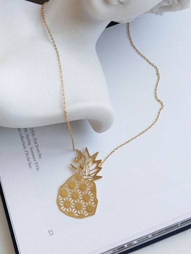 925 Sterling Silver Cute Pineapple Long Strand Necklace