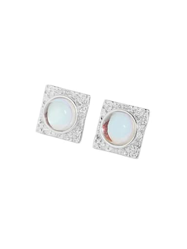 Silver [with pure Tremella plug] 925 Sterling Silver Opal Geometric Vintage Stud Earring