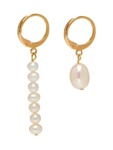 Brass Freshwater Pearl Geometric Minimalist Drop Earring