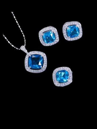 Sea blue ring US 6 Brass Cubic Zirconia Minimalist Square Earring Ring and Necklace Set