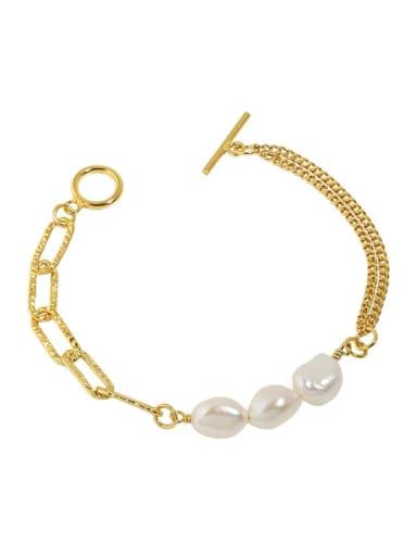 18K 925 Sterling Silver Freshwater Pearl Geometric Minimalist Strand Bracelet