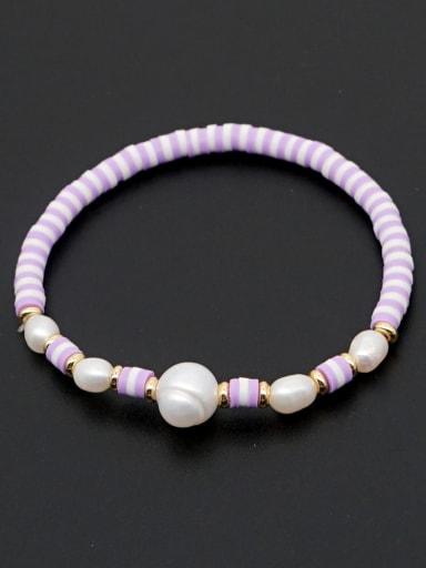 ZZ B200056A Freshwater Pearl Multi Color Polymer Clay Round Bohemia Stretch Bracelet