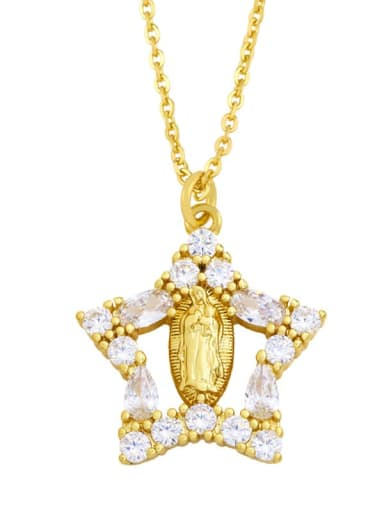 B Brass Cubic Zirconia Heart Hip Hop Regligious Necklace