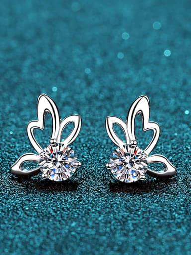 Sterling Silver Moissanite Butterfly Dainty Stud Earring