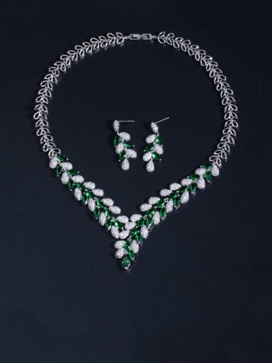 Brass Cubic Zirconia Luxury Leaf  Earring and Necklace Set