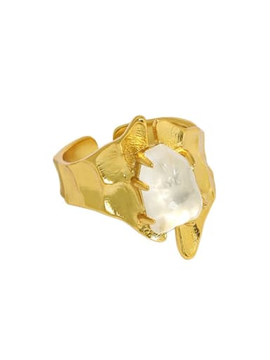 Gold [15 adjustable] 925 Sterling Silver Crystal Irregular Vintage Band Ring