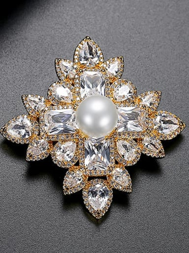 gold Copper Cubic Zirconia Flower Luxury Brooch