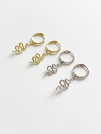 925 Sterling Silver Snake Vintage Huggie Earring