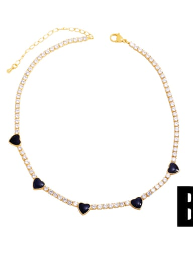 B (white zirconium black) Brass Cubic Zirconia Enamel Heart Vintage Necklace