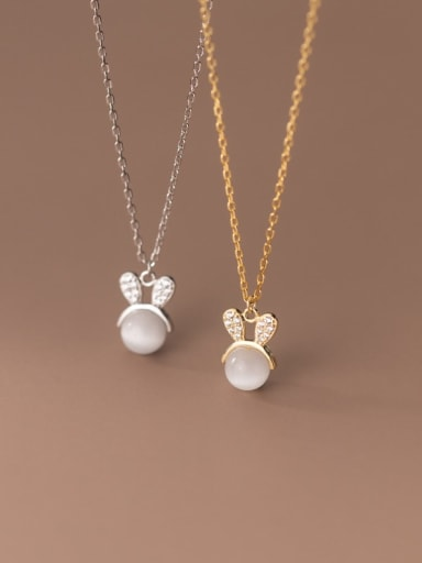 925 Sterling Silver Cats Eye Rabbit Minimalist Necklace