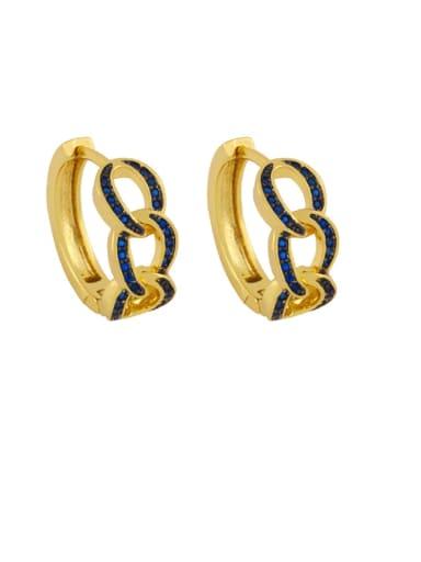 blue Brass Cubic Zirconia Geometric Bohemia Stud Earring