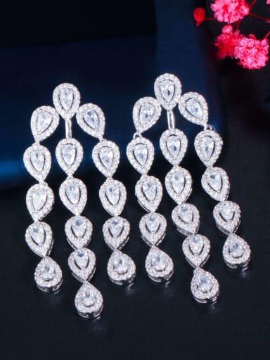 Brass Cubic Zirconia Water Drop  tassel Luxury Chandelier Earring