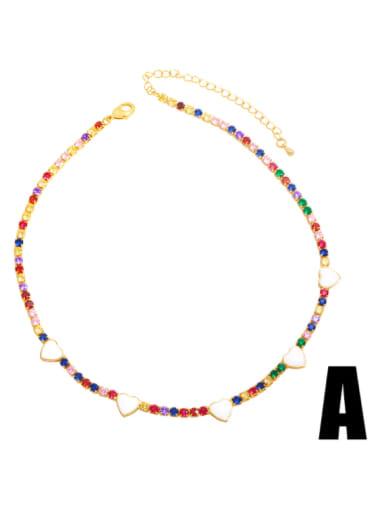 A (color zirconium white) Brass Cubic Zirconia Enamel Heart Vintage Necklace