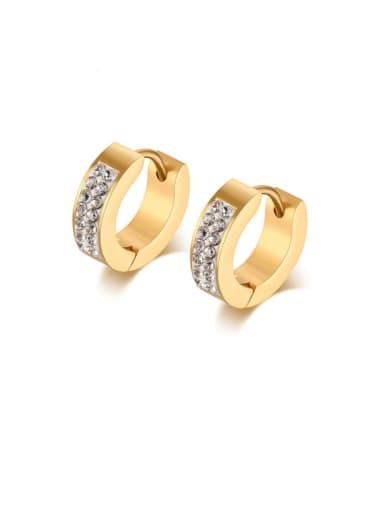 Stainless steel Rhinestone Geometric Minimalist Huggie Earring