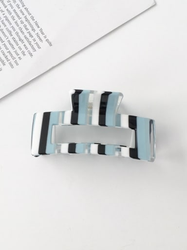 F119 Cellulose Acetate Minimalist Blue striped hollow Alloy Jaw Hair Claw
