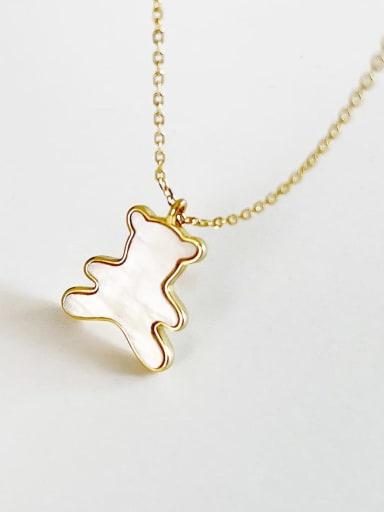 925 Sterling Silver Shell Bear Minimalist Necklace
