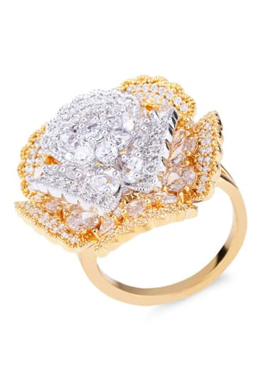 Brass Cubic Zirconia Flower Luxury Band Ring