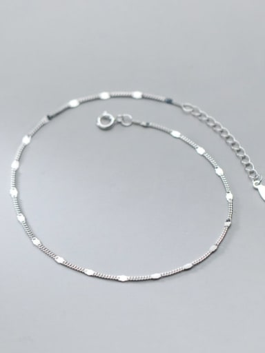 Silver 925 Sterling Silver  Irregular Minimalist  Chain Anklet