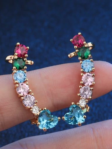18K Gold Copper Cubic Zirconia Geometric Vintage Ear Cuff Earring