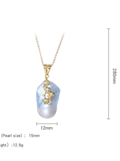 Brass Freshwater Pearl Irregular Vintage Necklace(No Chain)