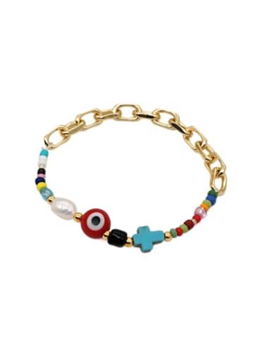 Stainless steel  Glass  Bead Oval Bohemia Stretch Bracelet