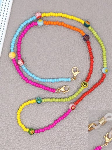 GZ N200007A Stainless steel Bead Multi Color Weave Bohemia Hand-woven Necklace