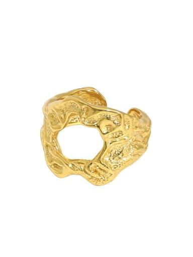Gold [11 adjustable] 925 Sterling Silver Irregular Vintage Band Ring